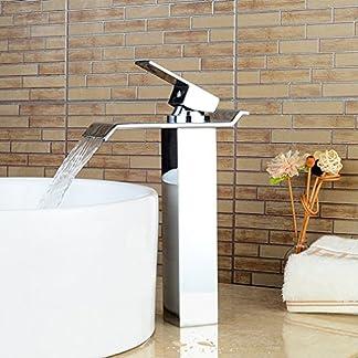 Bonade cromo único mango cascada baño grande rectangular Boquilla grifo mezclador monomando para grifo de Lavabo