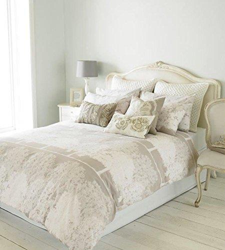 Wald Bäume Streifen Beige Weiß Baumwollmischung Breites Doppelbett (Einfache Creme Passendes Leintuch - 180 X 200CM + 25) 4 Teile Bettwäsche Set -