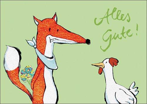 Lustige Geburtstagskarte mit Fuchs und Huhn: Alles Gute! • auch zum direkt Versenden mit ihrem persönlichen Text als Einleger.