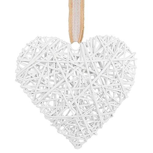 maDDma ® Deko-Hänger Weiden-Herz 40cm, weiß o. grau Fensterhänger Fensterdeko Rattanherz, Farbe:weiß