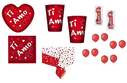 Irpot - kit n.6 ti amo san valentino + forchette e palloncini rossi