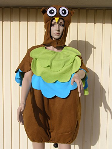 Schnee Eule Kostüm - Eule Faschingskostüm Fastnacht Karneval Fasching Kostüm Karnevalskostüm M / L Tier Gruppe Eulen Rosenmontag Junggesellenabschied