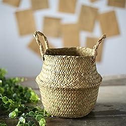 TOOGOO Seagrass cesta de cesteria de mimbre plegable colgante maceta de flores maceta sucia de lavanderia cesto de almacenamiento cesta decoracion para el hogar tamano S