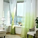 DOLDOA Transparenter Ösenvorhang Farbverläufen Gardinen für Schlafzimmer Kinderzimmer Ösenschal Voile Dekoschal Gardine (grün)
