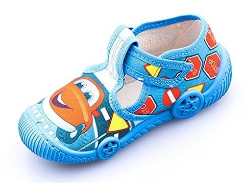 Viggami Kinder Schuhe Cars Hausschuhe Jungen Mädchen Auto Klettverschluss Comic Motiv Kleiner Flitzer Baumwolle Größe