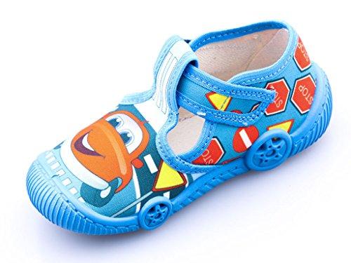 Viggami Kinder Schuhe Cars Hausschuhe Jungen Mädchen Auto Klettverschluss Comic Motiv Kleiner Flitzer Baumwolle Größe (Hausschuhe Elsa Disney Frozen Kleinkind)