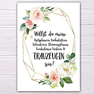 """A6 Postkarte """"Willst du meine Trauzeugin sein?"""" in weiß modern Glanzoptik Papierstärke 235 g / m2 Geschenk für Schwester…"""