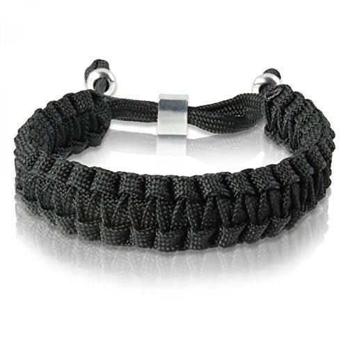 Skipper Geflochtenes Armband mit Silbernem Charm - Maritimes Armband geflochten aus Nylon - Unisex Flechtarmband für Damen und Herren