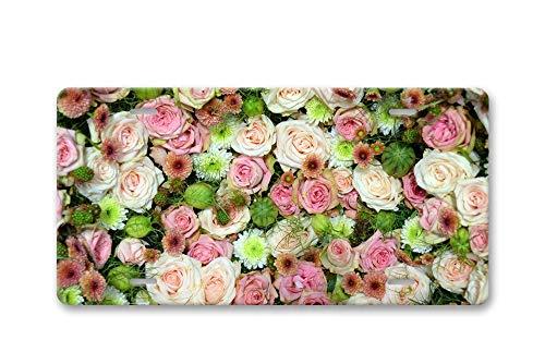 Preisvergleich Produktbild Fhdang Deko-Rosenstrauß,  Rosen,  Blumen,  Liebes-Aluminium-Nummernschild,  Vorderkennzeichen,  Vanity Tag mit 4 Löchern,  Autozubehör,  15, 2 x 30, 5 cm