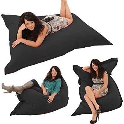 "Gilda® Whopper BeanBag BLACK FRESCO - Indoor & Outdoor Bean Bag Whopping 5ft 8"" x 4ft 4"" Stain & Water Resistant"