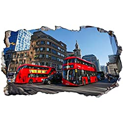 Chicbanners London Red Bus 3D V002 Magic Window Sticker Mural Autocollant Mural Motif fenêtre 1000 mm de Large x 600 mm de Profondeur (L x l x P)
