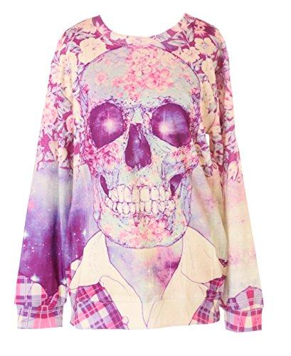 Kawaii-Story TY-WS-0368 Totenkopf Skull Blumen Print Gothic Punk Sweatshirt Pullover Japan Harajuku Punk Skull Sweatshirt