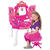 Girls Bedroom Vanity Glamour Mirror Makeup Dressing Table Stool Princess Play set Toy Creative Game Great Birthday Christmas XMAS Gift (SI-TY1081)