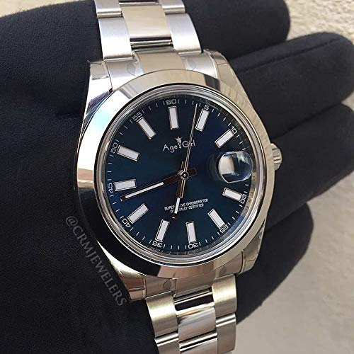 ZCCZJBXS Luxury Watch Men Datejust Silver Black Blue Watch Automatic Mechanical Stainless Steel Sapphire Glass Watches 36mm AAA Blue