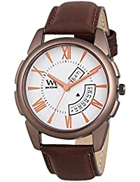Watch Me Day Date Collection White Dial Brown Leather Strap Watch For Men And Boys DDWM-038 DDWM-038rto2