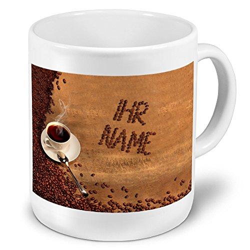 XXL Riesen-Tasse mit Namen personalisiert - Motiv Kaffeebohnen - individuell gestalten -...