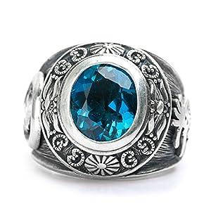 Herren Klassisch Antique Klassisch Blau Topas Edelstein Solide 925 Silber Silber Biker mode Tägliche Abnutzung Ring