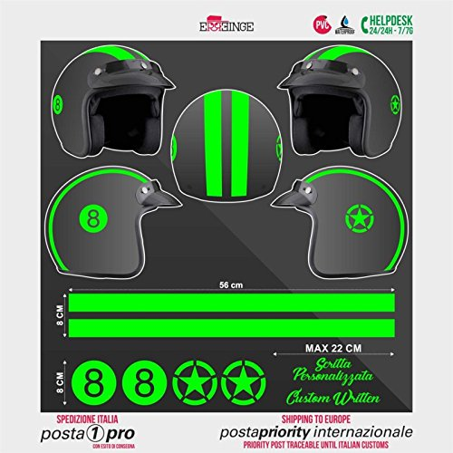 Kit Sticker Adesivi AUTOCOLLANT AUFKLEBER PEGATINAS - 8 Nero Strisce Stella Militare - Verde Fluo - Casco Scooter Moto Bike Motocicletta Helmet Helm Casque Motorrad Biker Decal Waterproof