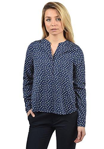 BlendShe Amelia Damen Lange Bluse Langarm Mit V-Ausschnitt Und Knopfleiste In Verschiedenen Prints Loose Fit, Größe:L, Farbe:Peacoat dot (14021) - Plus Size Peacoats