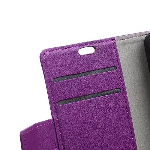 Solid Color Kas Textur Muster Leder Schutzhülle Case Horizontal Flip Stand Hülle mit Karten Slots für Lenovo Vibe S1 ( Color : White , Size : Lenovo Vibe S1 ) Purple