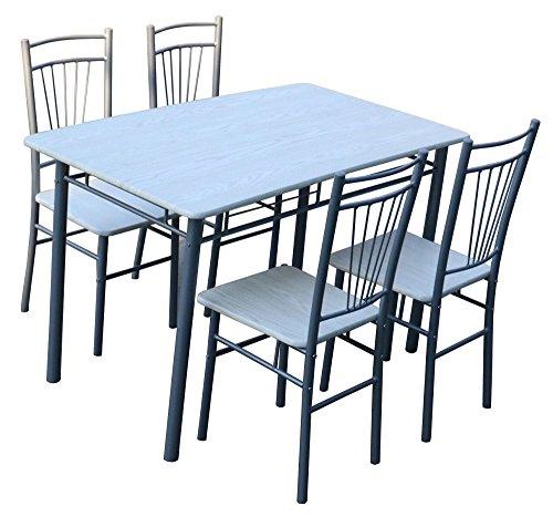 Capaldo set tavolo con 4 sedie struttura in acciaio top e sedute in mdf cucina soggiorno