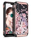 Hülle für Huawei P20 Pro, Huawei P20 Pro Hülle Case, BENTOBEN Handyhülle Huawei P20 Pro Hybrid flexibele TPU Cover PC Hardcase kombiniert Kunstleder mit Rose Blumen Motiv stilvolle Mädchen Damen Case Hülle für Huawei P20 Pro Rosa