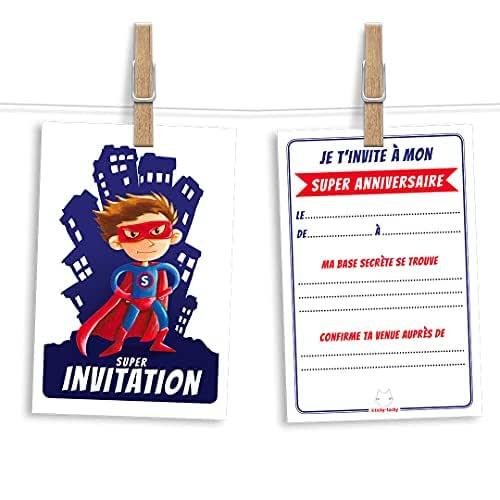 6 cartes et enveloppes invitation anniversaire   Anniversaire fille ou garçon   Thème Super-héros inspiré de Superman