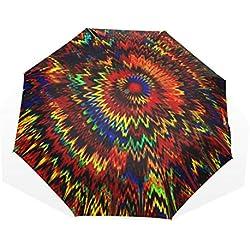 Paraguas de Viaje Colorido Pintura fractales caleidoscopio Grande