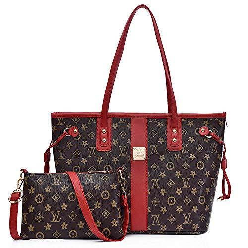 YHYZBB Handtaschen Damen Henkeltaschen Umhängetaschen Schultertaschen Shopper Tote Rucksackhandtaschen Hobo Taschen Große Kapazität,2-teiliges Set, rot für Büro Schule Einkauf Reise -