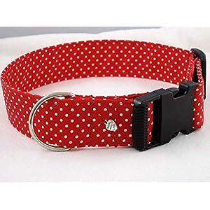 """Halsband""""rot mit weißen Punkten"""" 4 cm breit bis 55 cm Halsumfang"""
