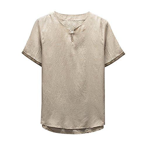 UFACE Herren T-Shirt Retro Baumwolle Leinen Hemd Casual V Ausschnitt Langarmshirt Tee Basic Shirt Einfarbig Lose Coole Hemden Hippie Kleidung -