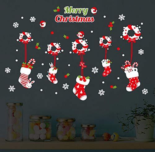 Xzfddn Neues Jahr Weihnachten Kranz Socken Cartoon Pvc Wandaufkleber Schaufenster Fenster Aufkleber Kinderzimmer Schlafzimmer Wohnkultur Wandtattoo