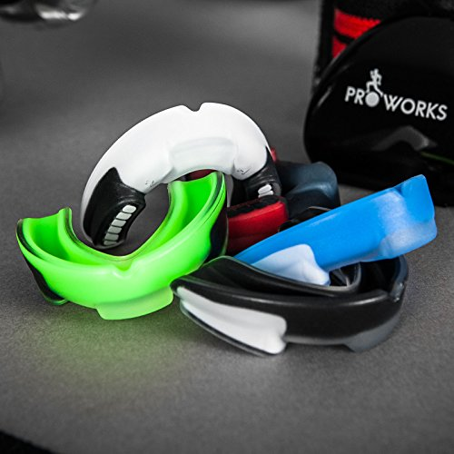 Proworks Impact Resistant Mouth Guard   Protective Gum Shield and Tooth Guard for Boxing  MMA  Rugby  Hockey and Other Contact Sports - Black Clear