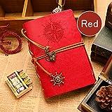 Greatmall Leather writing Journal notebook 18.5 * 10.5 cm vintage Nautical Spiral notebook copertina rigida viaggiatori taccuino A6 18.5 * 10.5cm Red