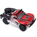 Dilwe 1/18 RC Voiture, 2,4 GHz 4WD Voiture télécommande Tout-Terrain modèle de Camion de Course Jouet Enfants (Rouge)