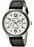 Invicta I-Force Men's Quartz Watch with Silver Textured Dial Analogue Display and Black Leather Strap 13009