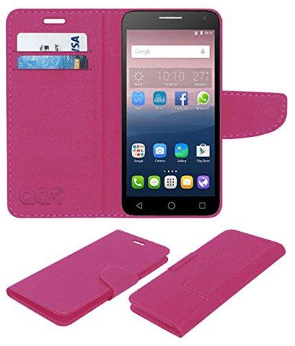 Acm Mobile Leather Flip Flap Wallet Case for Alcatel Pop 4 Plus Mobile Cover Pink