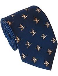 Cravate Soie avec Motif de Canard, Bleu Marine, Lloyd Attree & Smith