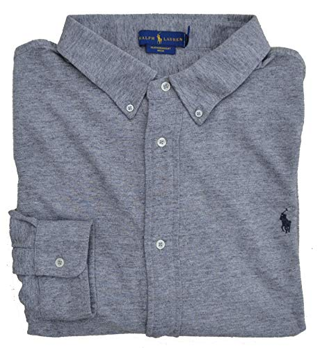 Ralph Lauren Big & Tall Poloshirt Hemd Langarm M Classics Grau Grey Heather (4XB) (Herren Big Tall Poloshirt)