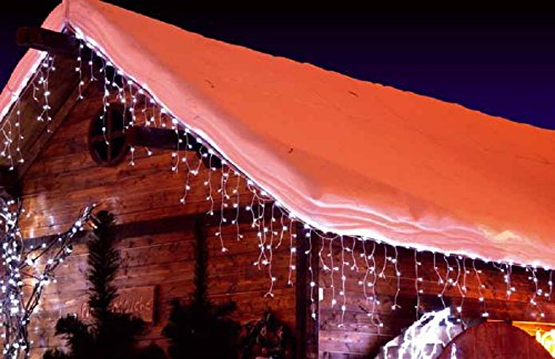 CASCATA LUMINOSA TENDA DI NATALE 192 LED FLASH BIANCO FREDDO 510X90 - PROLUNGABILE 15MT