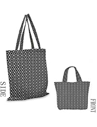 Bolsa de playa con patrón minimalista en blanco y negro con formas ovaladas inclinadas y contornos