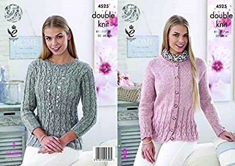 King Cole Womens Double Knitting DK Pattern Ladies Sweater & Lace Detail Cardigan (4525) by King Cole