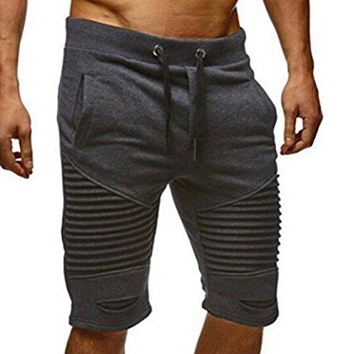 ASHOP Herren Kurze Hose, Einfarbige Elastisch Slim fit Stretch Baumwollmischung Jogginghose Sportshorts Sweatpant Boxing Shorts (M, Grau)