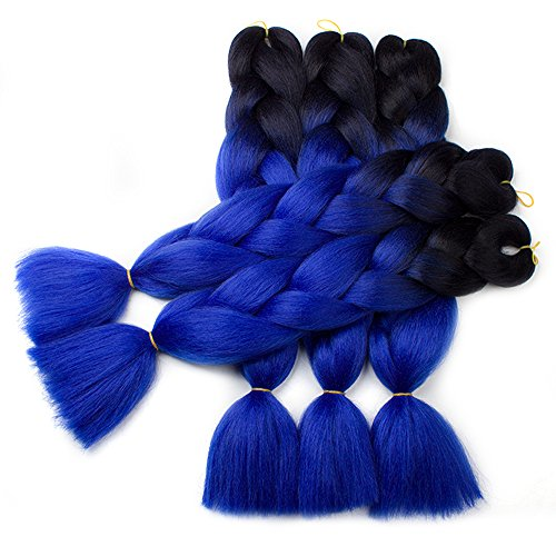 Nayoo®, extension a treccia per capelli scuri in fibra kanekalon, fibra sintetica ad alta temperatura, trecce lunghe 61 cm e dal peso di 100 g/pezzo, effetto ombreggiato
