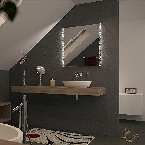 Badspiegel hinterleuchtet mit zwei Streifen gelasert - LED warmweiss
