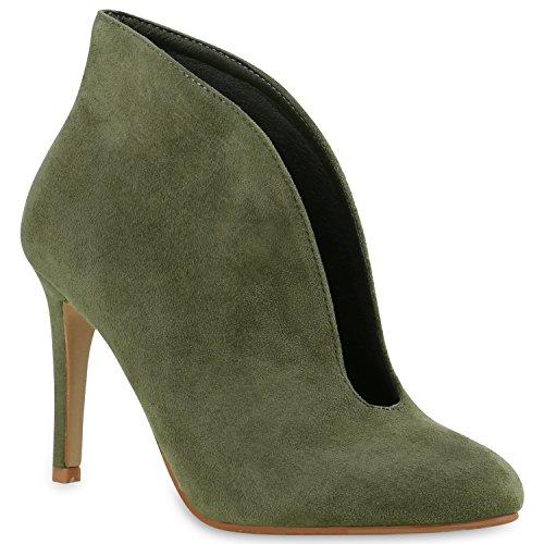 Elegante Damen Hochfront Pumps High Heels Stiefeletten Schuhe 136636 Dunkelgrün 37 Flandell