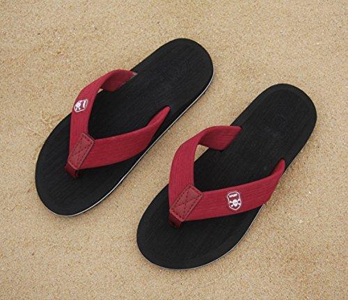KISS GOLD (TM) Hommes Sandales avec Motif Crâne Sable Flip-Flop Chaussures de Plage Modèle A-Noir