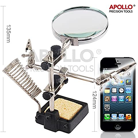 Apollo Helping Hands with Large Magnifier, 2 Rotating Alligator Clips, with Sturdy Cast Iron Soldering Stand