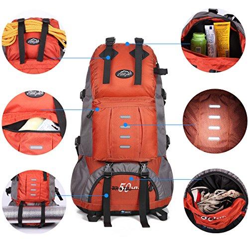 Local Lion Zaino 50L per Trekking borsone zaino unisex professionale Zaino Montagna Zaini Campeggio Outdoor Escursionismo Viaggio Sport Arancione