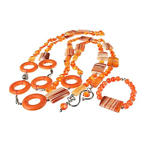 ILSE VAN DER MERSCH Magnificent Jewellery Set Necklace and Bracelet. Handmade in Switzerland. Agate Jade Natural Gemstones. Orange and Brown. 925 Silver Sterling Clasp. A unique gift for a unique woman.